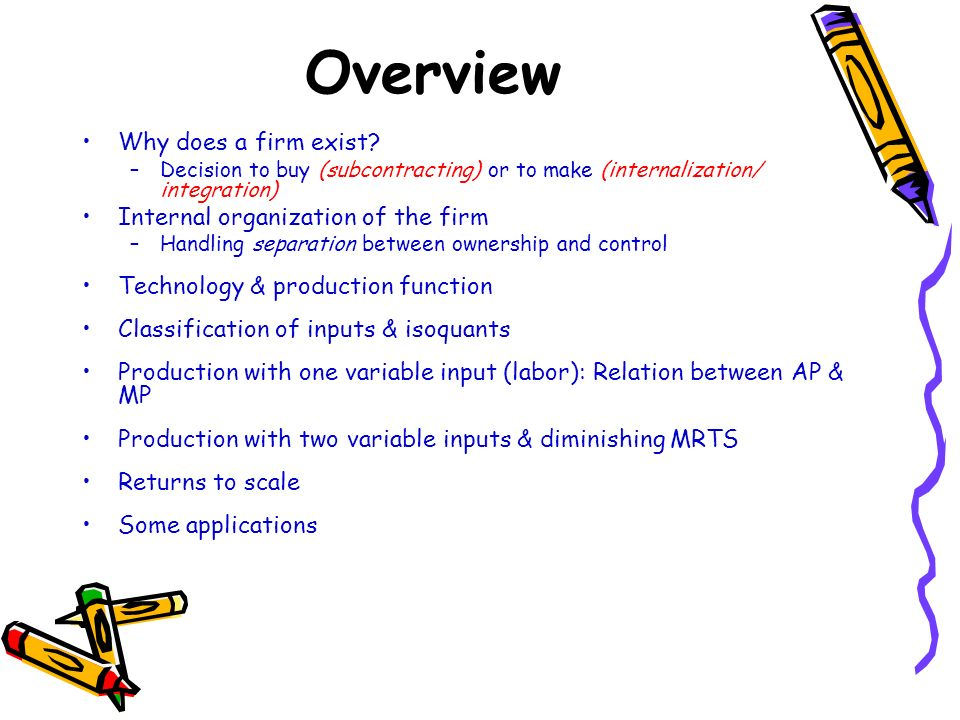 Overview Why does a firm exist Internal organization of the firm