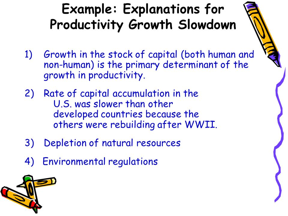 Example: Explanations for Productivity Growth Slowdown