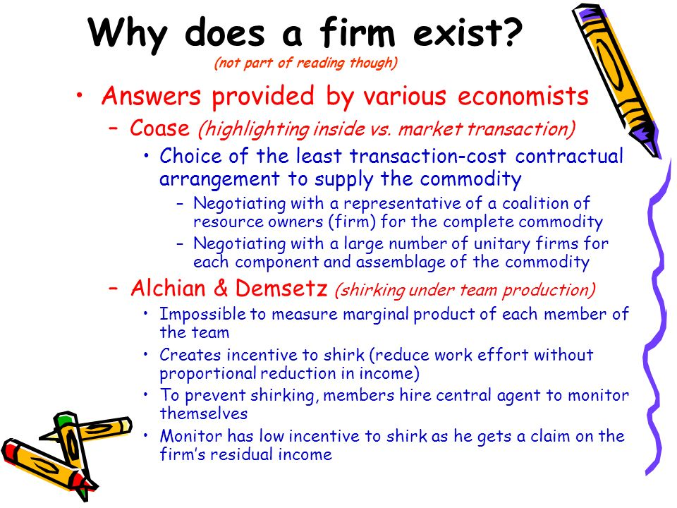 Why does a firm exist (not part of reading though)