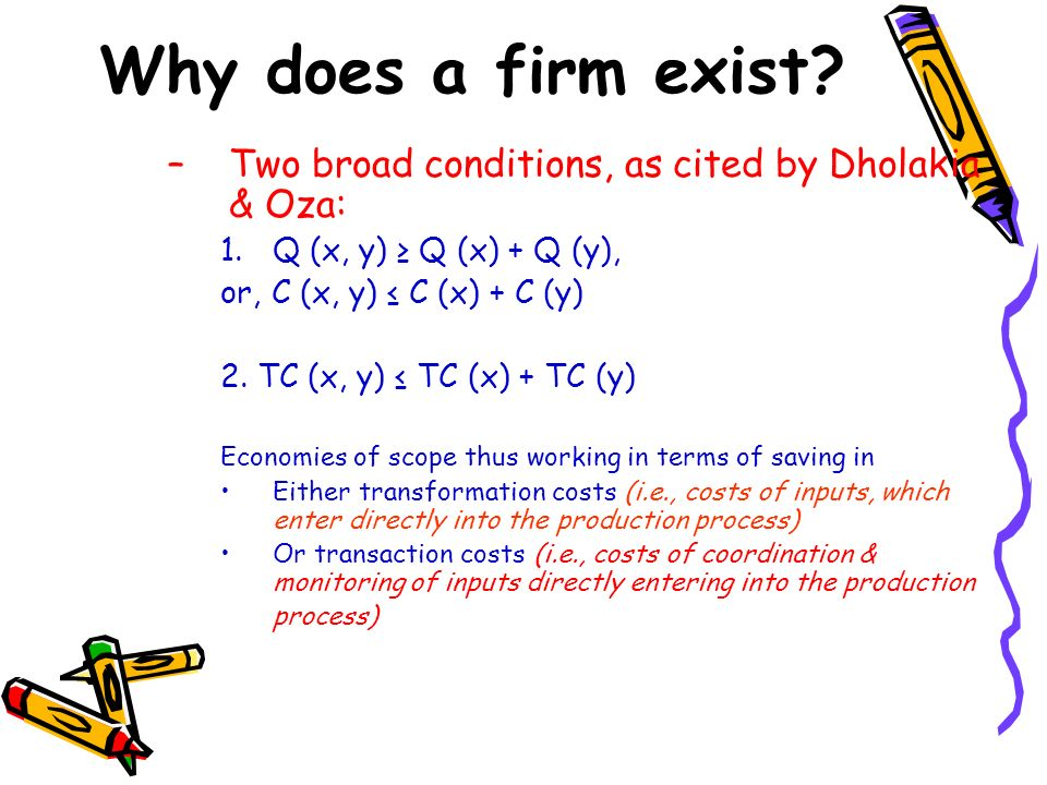 Why does a firm exist Two broad conditions, as cited by Dholakia & Oza: Q (x, y) ≥ Q (x) + Q (y),