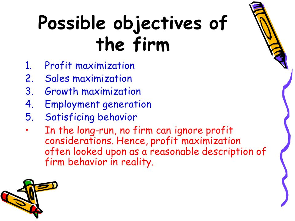 Possible objectives of the firm