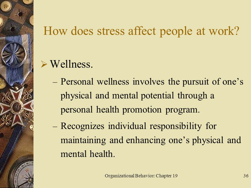 How does stress affect people at work