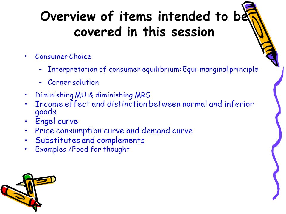 Overview of items intended to be covered in this session