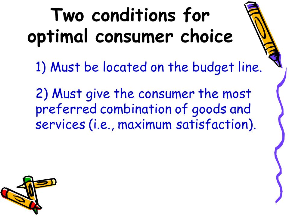 Two conditions for optimal consumer choice