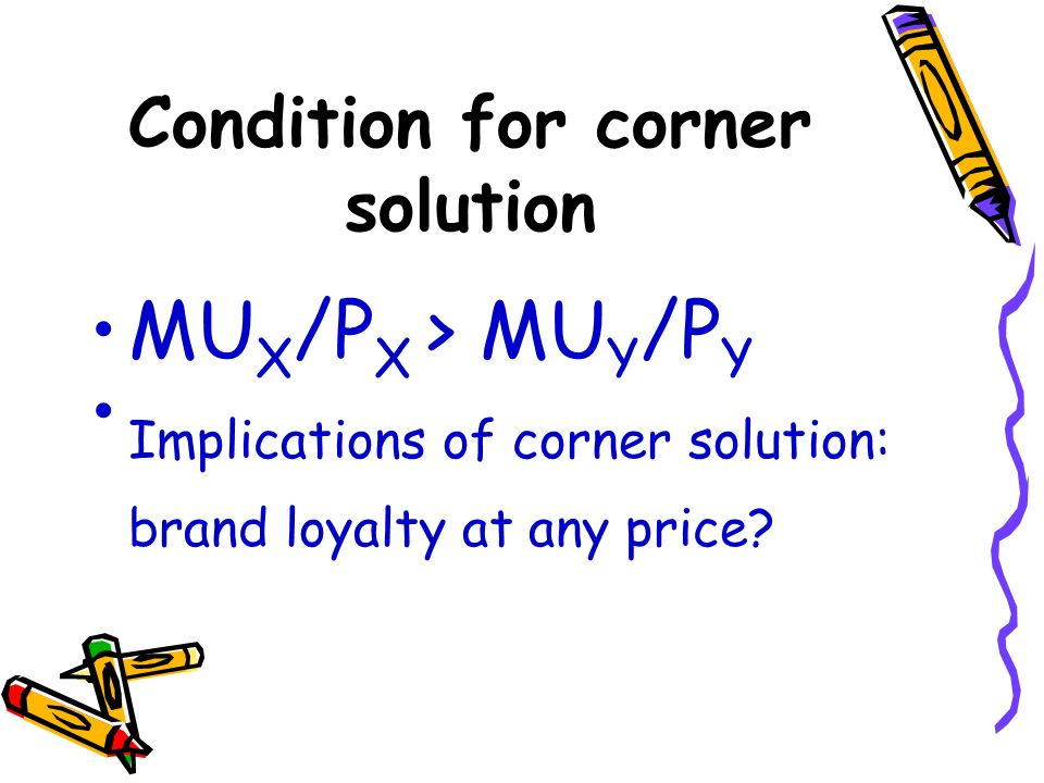 Condition for corner solution