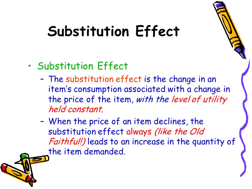 Substitution Effect Substitution Effect