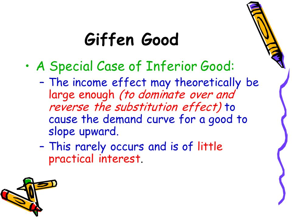 Giffen Good A Special Case of Inferior Good:
