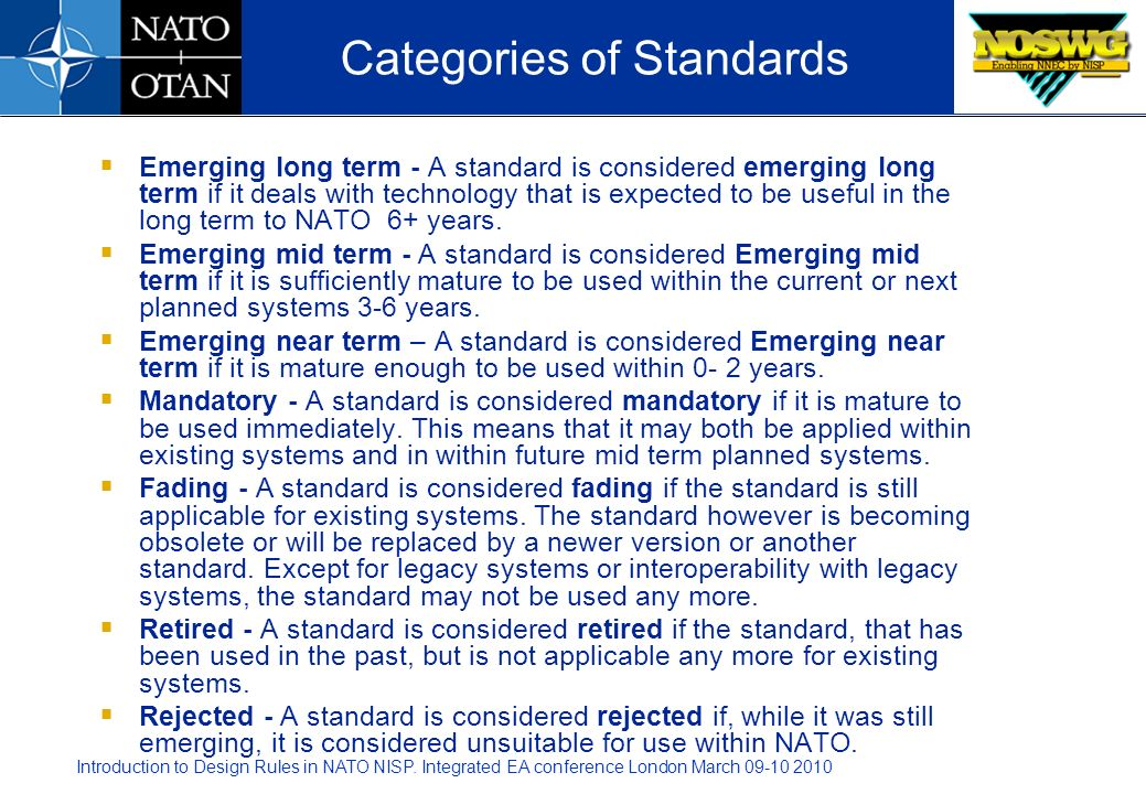 Categories of Standards