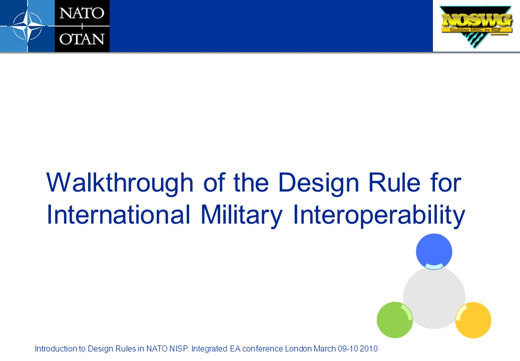 Walkthrough of the Design Rule for International Military Interoperability
