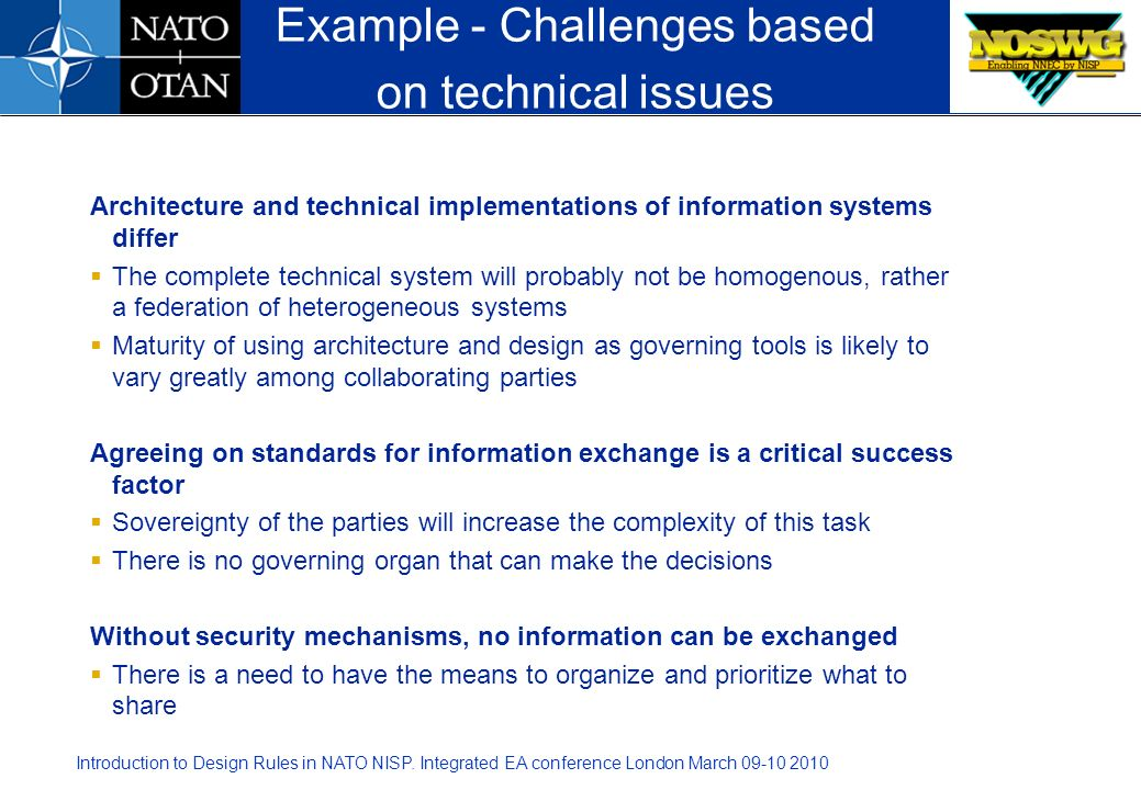 Example - Challenges based on technical issues