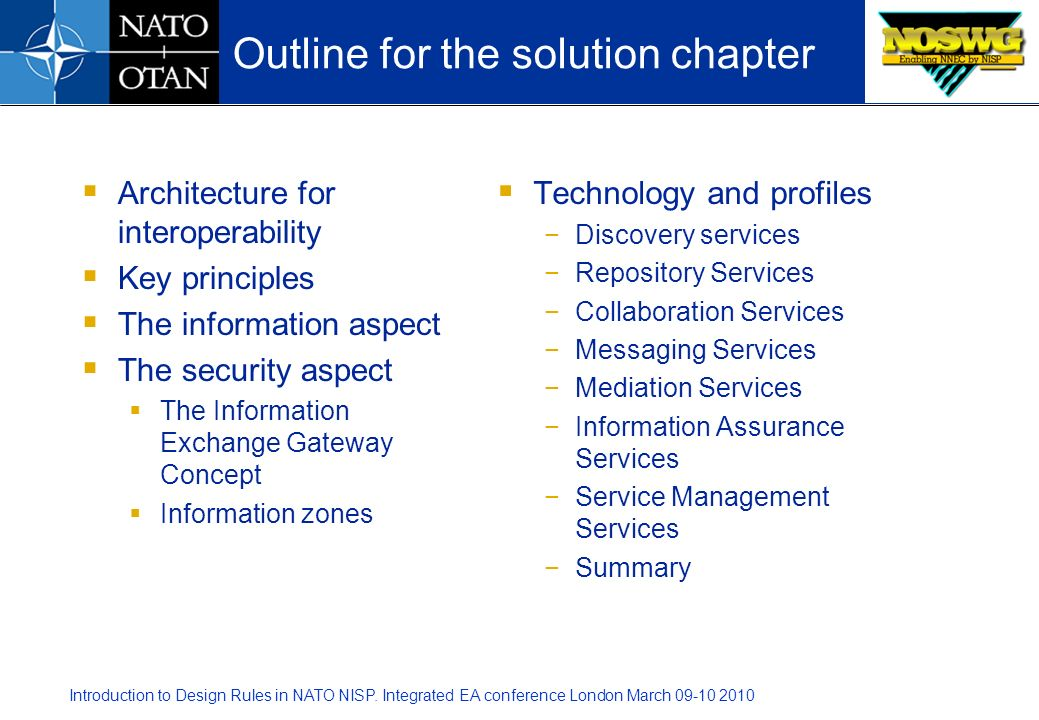 Outline for the solution chapter