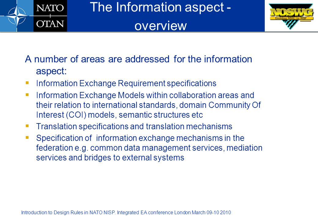 The Information aspect - overview