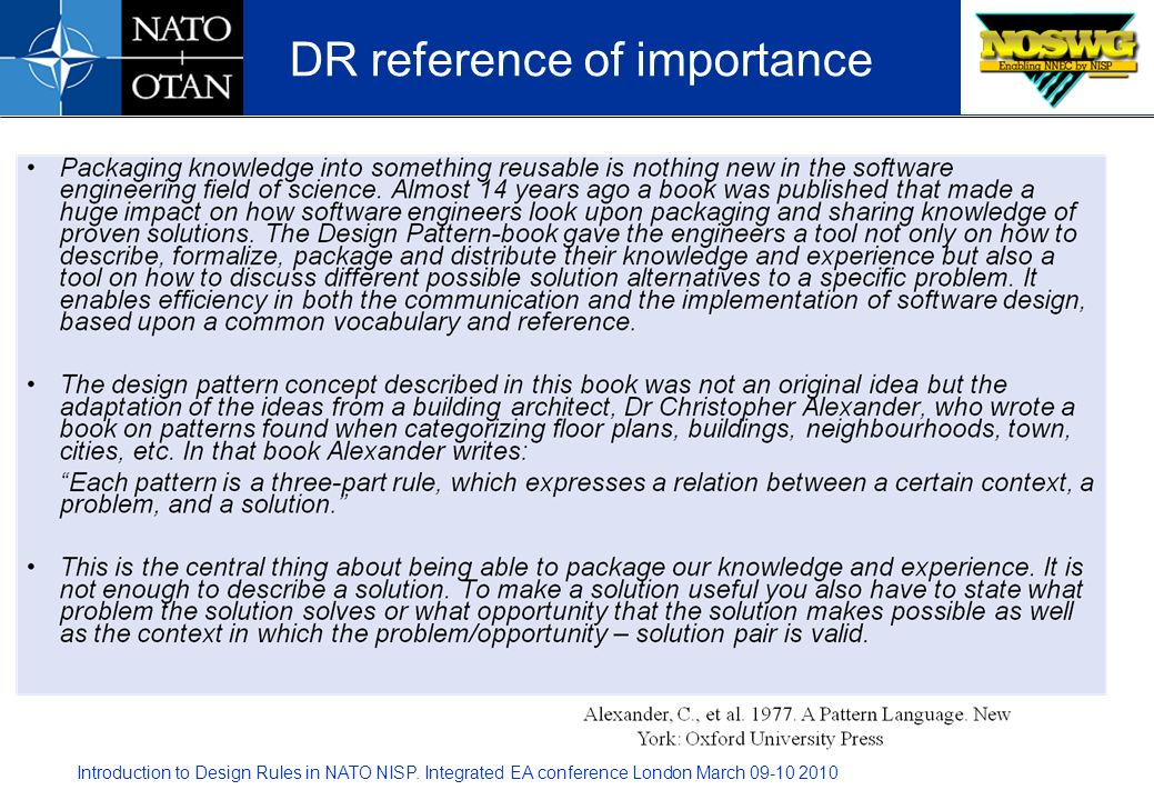 DR reference of importance