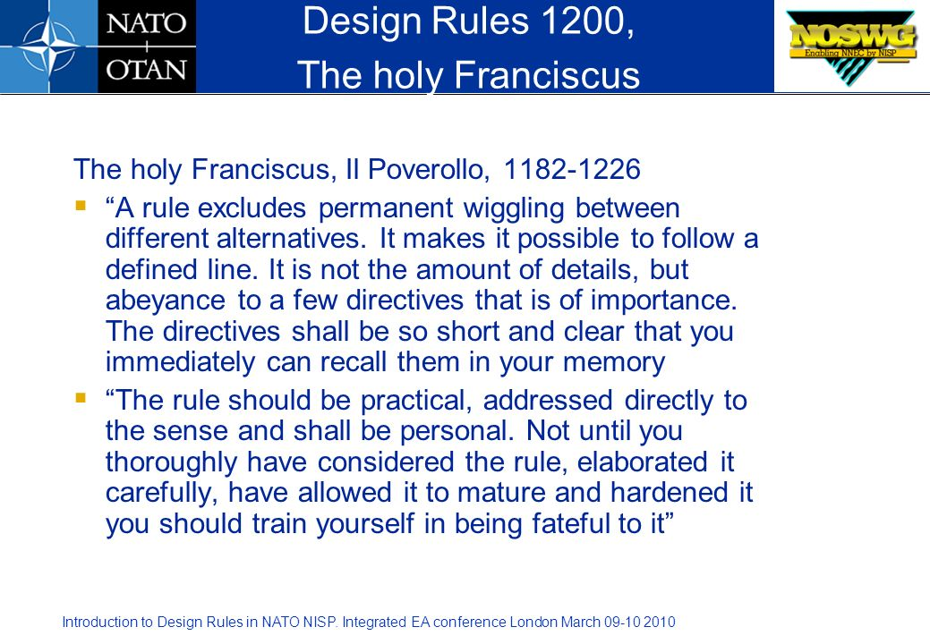 Design Rules 1200, The holy Franciscus