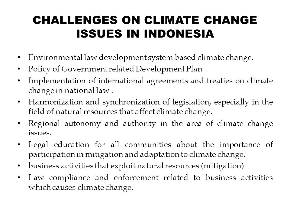 CHALLENGES ON CLIMATE CHANGE ISSUES IN INDONESIA