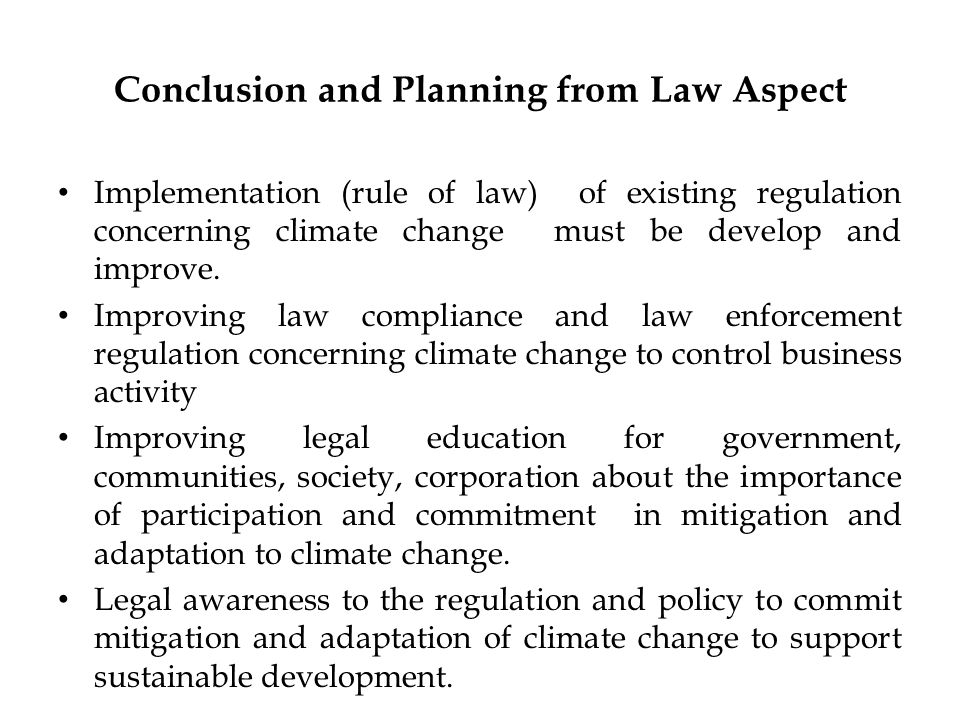 Conclusion and Planning from Law Aspect