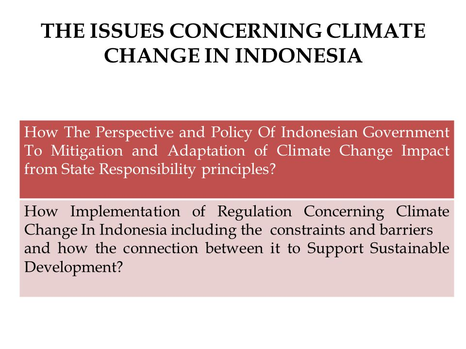 THE ISSUES CONCERNING CLIMATE CHANGE IN INDONESIA
