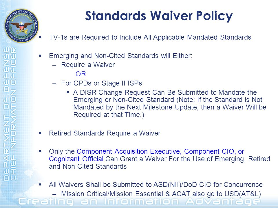 Standards Waiver Policy