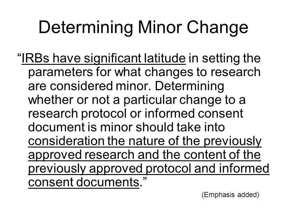 Determining Minor Change