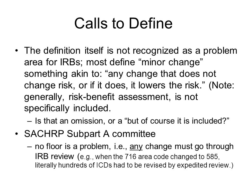 Calls to Define