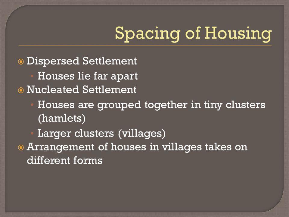 Spacing of Housing Dispersed Settlement Houses lie far apart