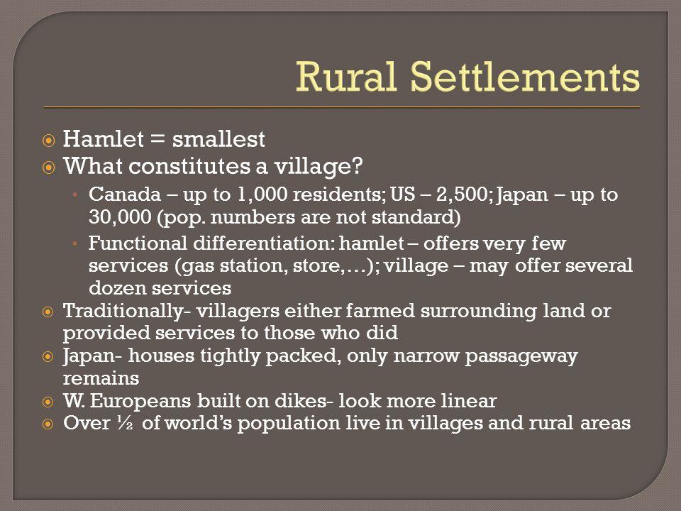 Rural Settlements Hamlet = smallest What constitutes a village