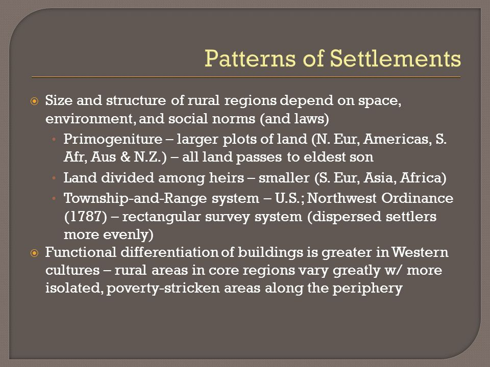 Patterns of Settlements