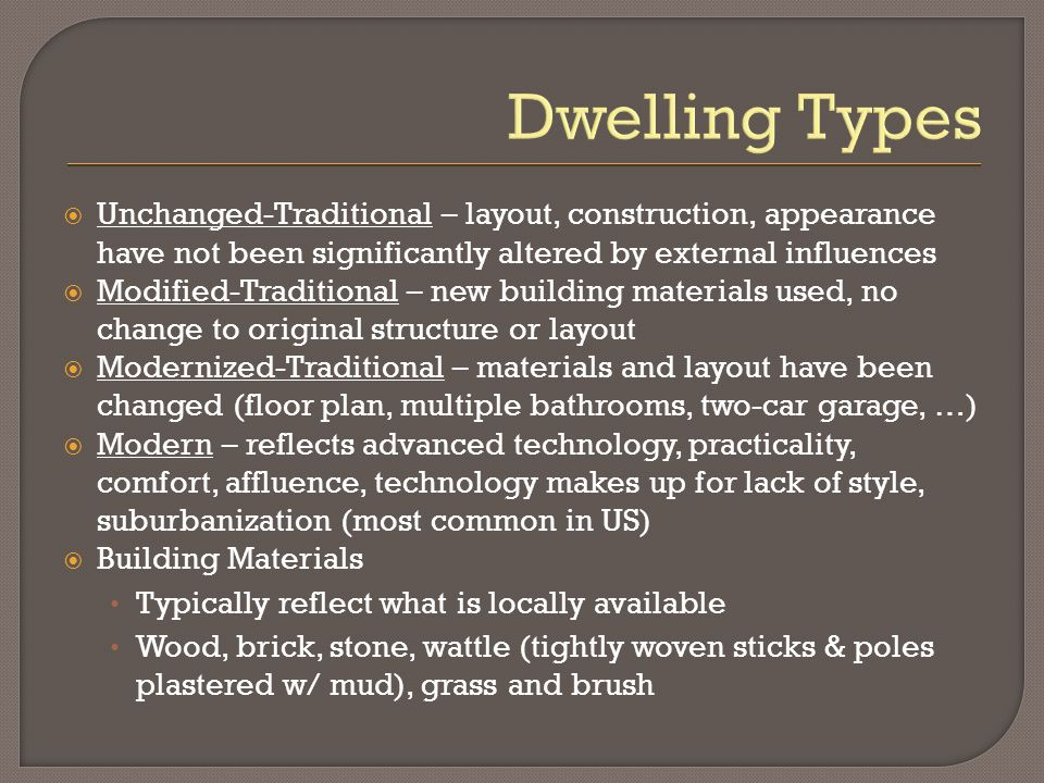 Dwelling Types Unchanged-Traditional – layout, construction, appearance have not been significantly altered by external influences.