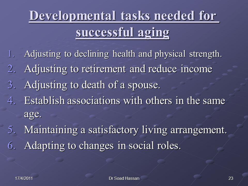Developmental tasks needed for successful aging