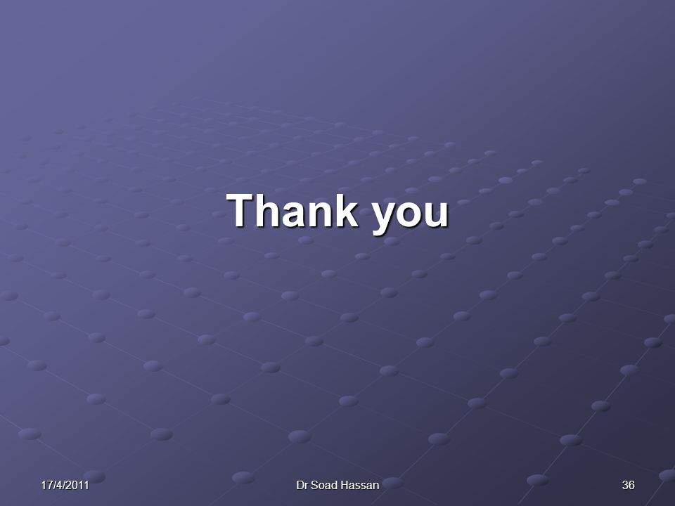 Thank you 17/4/2011 Dr Soad Hassan