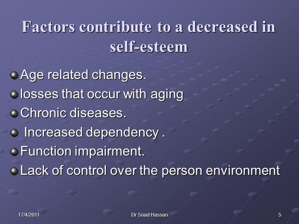 Factors contribute to a decreased in self-esteem