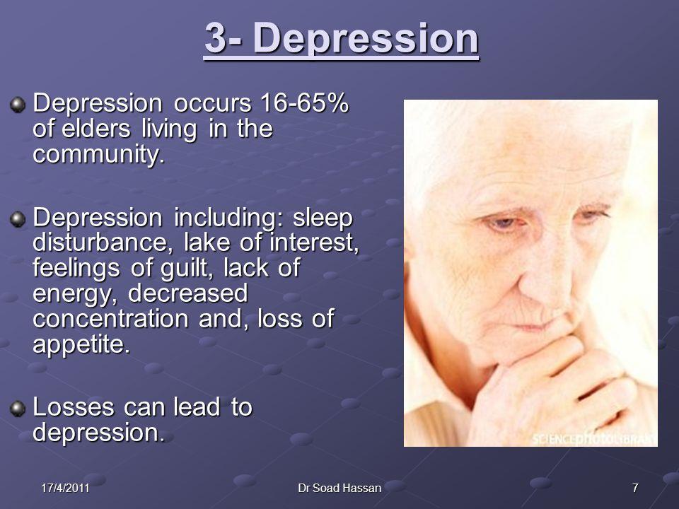 3- Depression Depression occurs 16-65% of elders living in the community.
