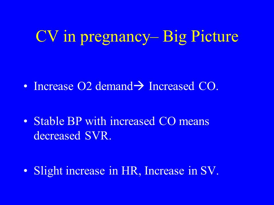 CV in pregnancy– Big Picture