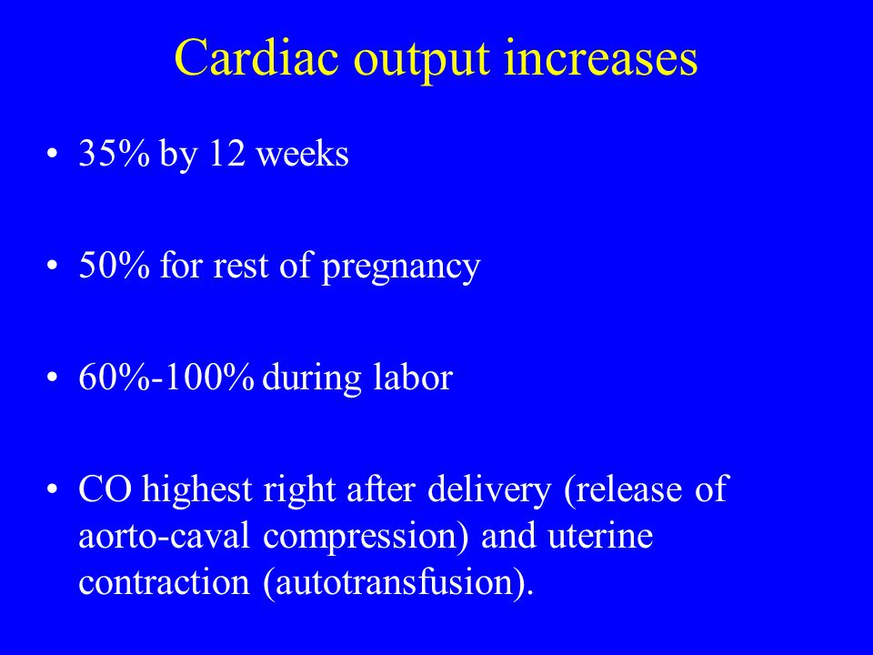 Cardiac output increases