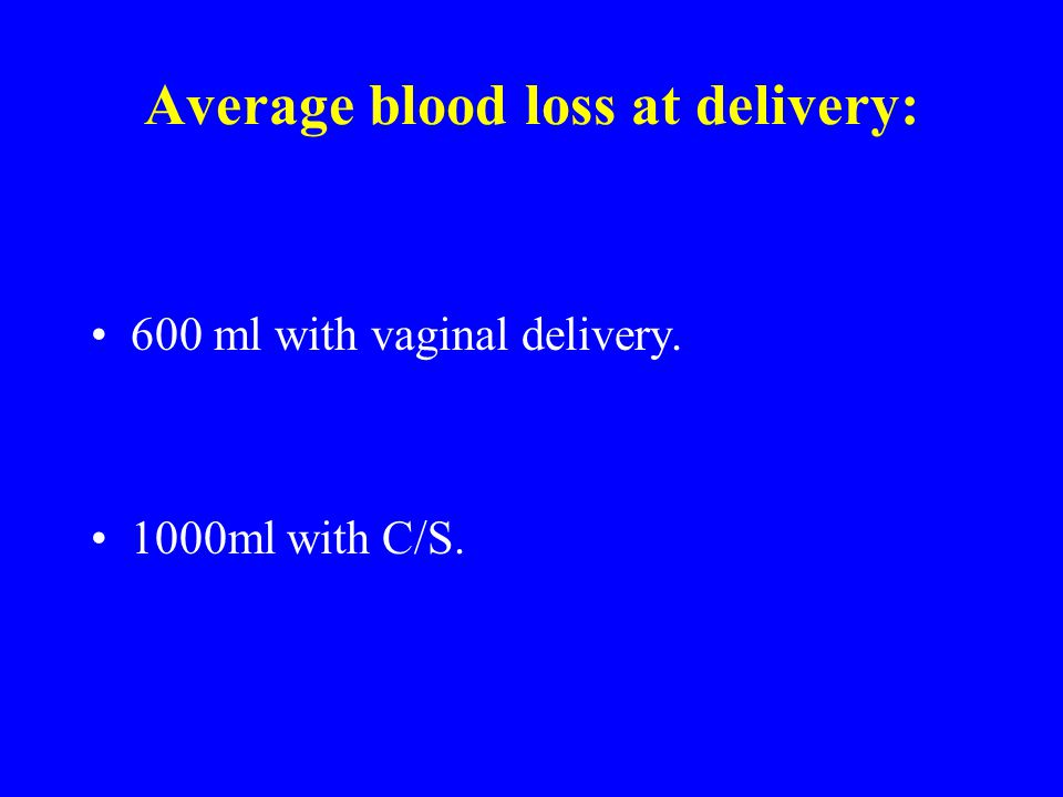 Average blood loss at delivery: