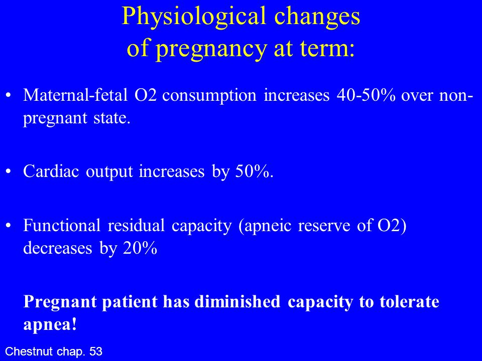 Physiological changes of pregnancy at term: