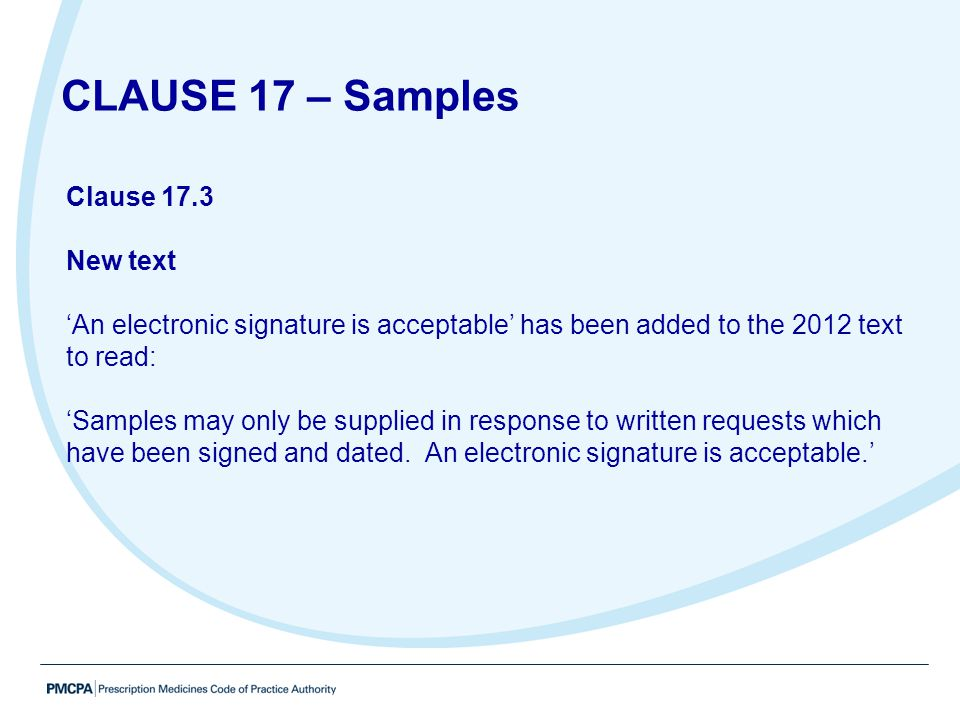 CLAUSE 17 – Samples Clause 17.3 New text