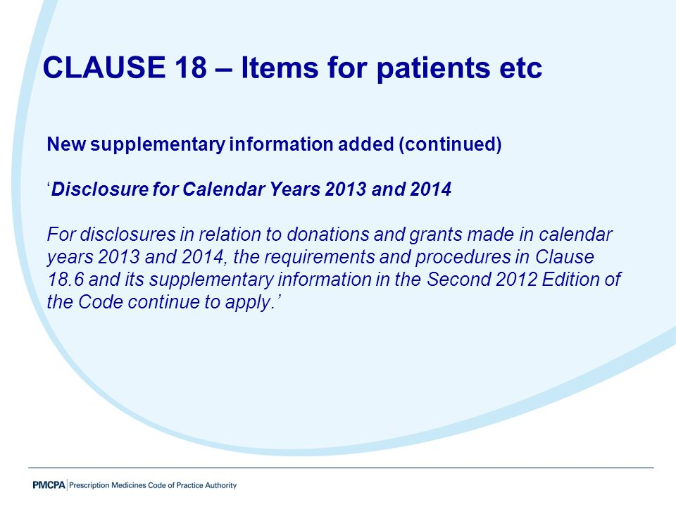 CLAUSE 18 – Items for patients etc