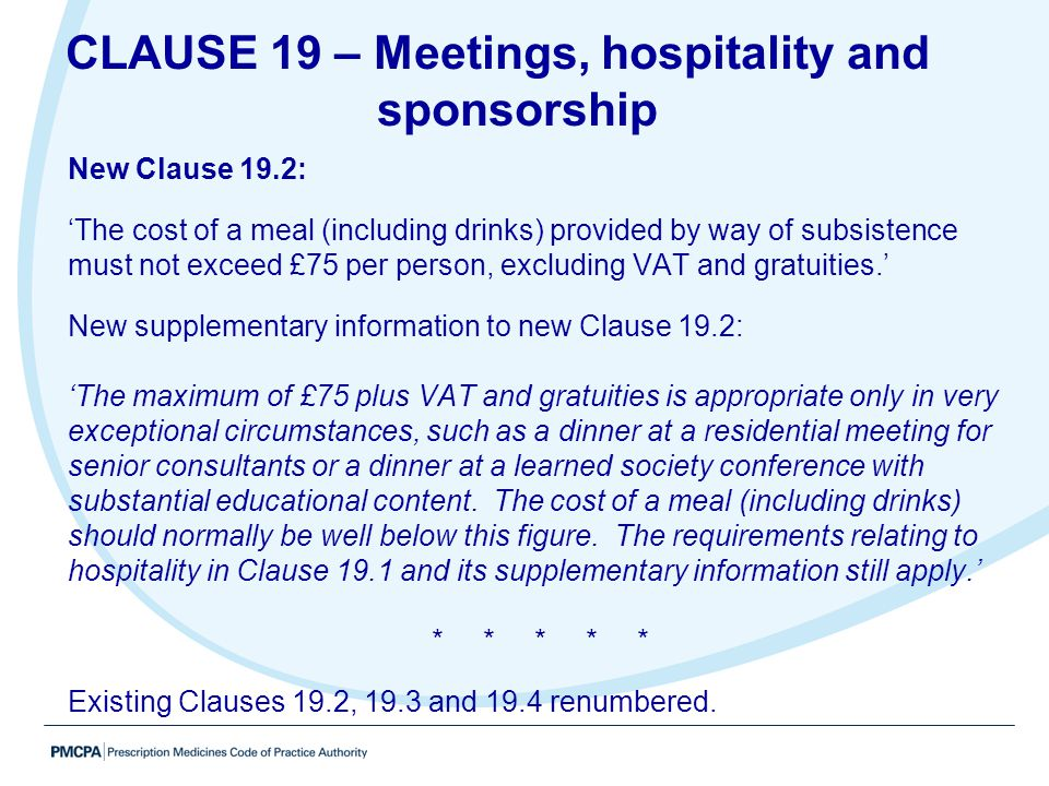 CLAUSE 19 – Meetings, hospitality and sponsorship