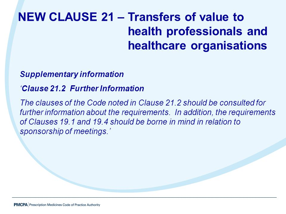 NEW CLAUSE 21 – Transfers of value to health professionals and