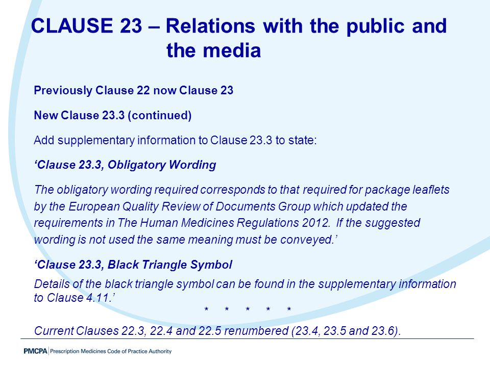 CLAUSE 23 – Relations with the public and the media
