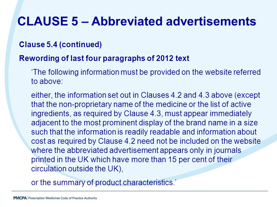 CLAUSE 5 – Abbreviated advertisements