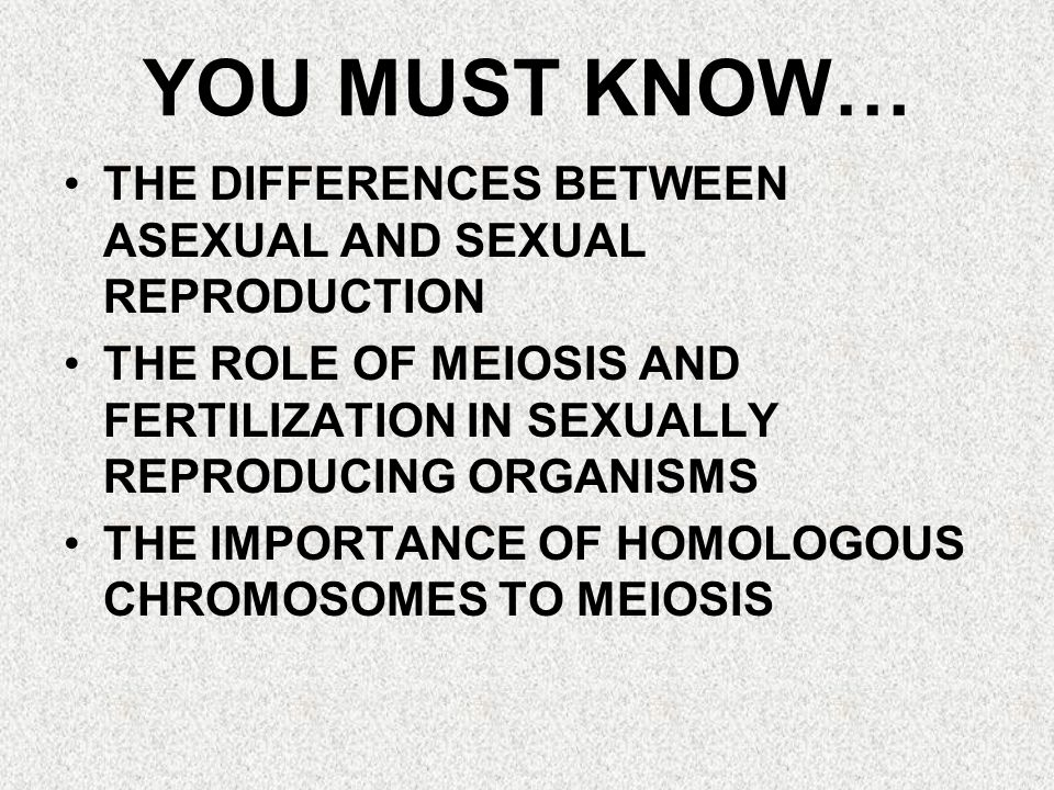 YOU MUST KNOW… THE DIFFERENCES BETWEEN ASEXUAL AND SEXUAL REPRODUCTION