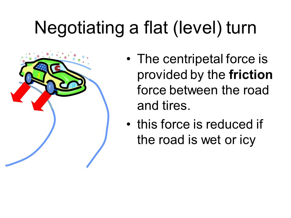 Negotiating a flat (level) turn