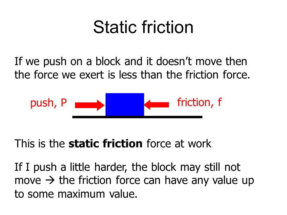 Static friction If we push on a block and it doesn't move then