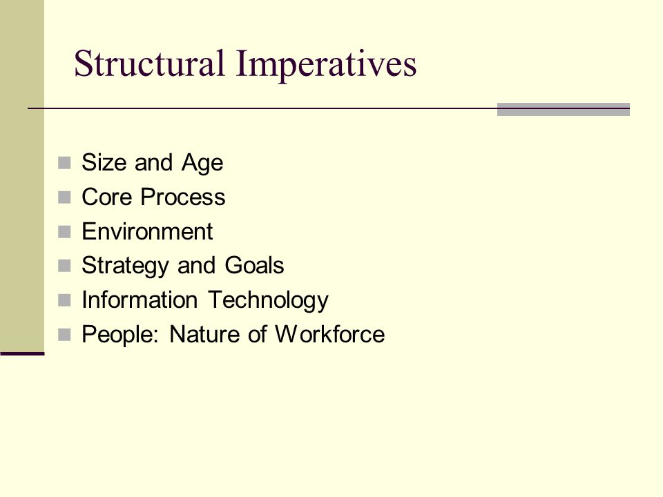 Structural Imperatives