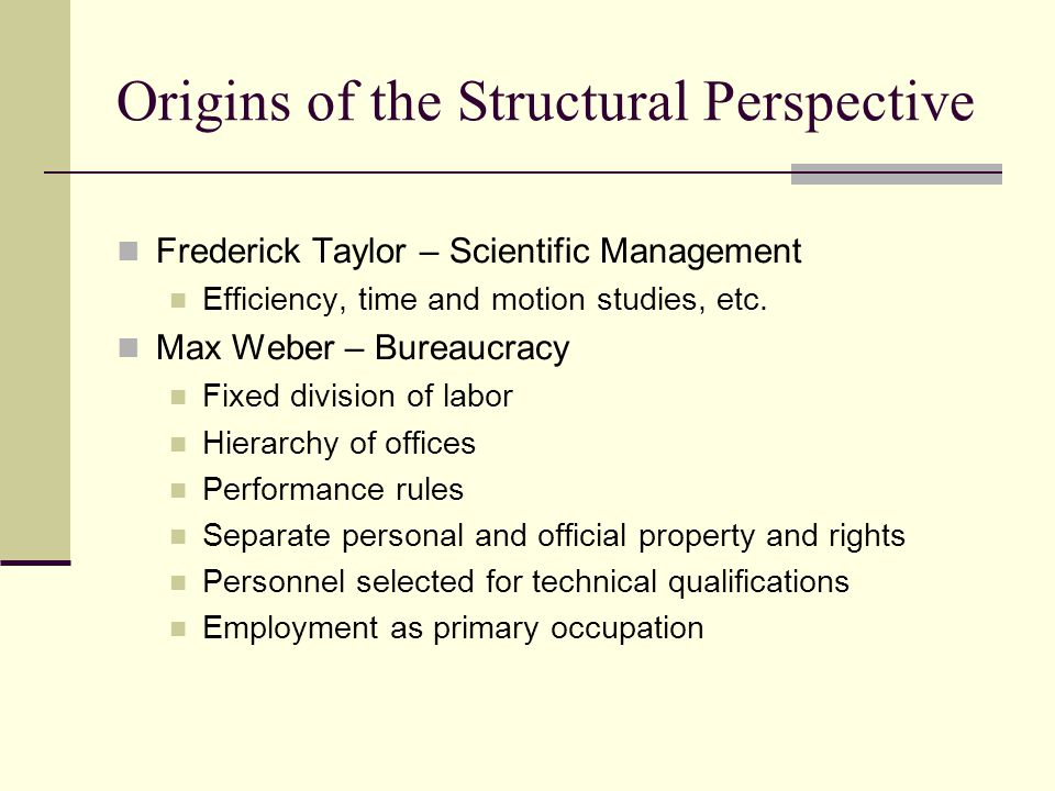 Origins of the Structural Perspective