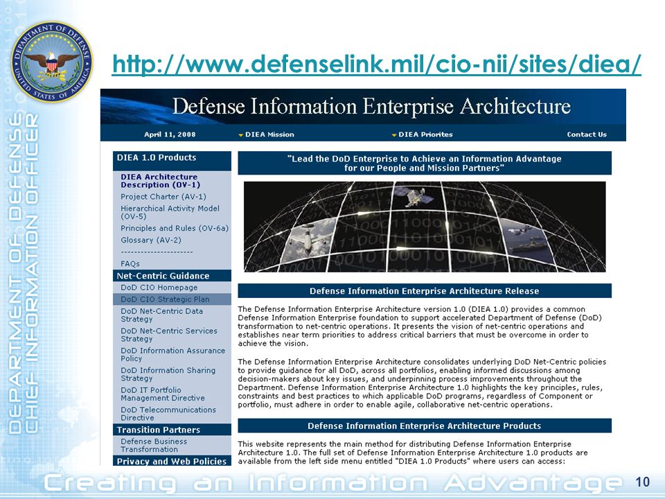 http://www.defenselink.mil/cio-nii/sites/diea/ 10 10