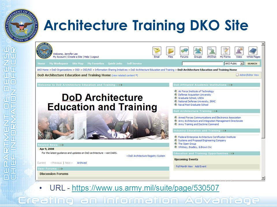 Architecture Training DKO Site