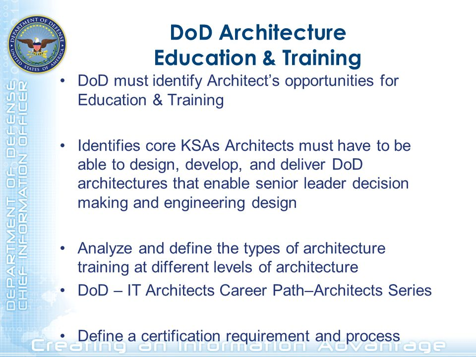 DoD Architecture Education & Training